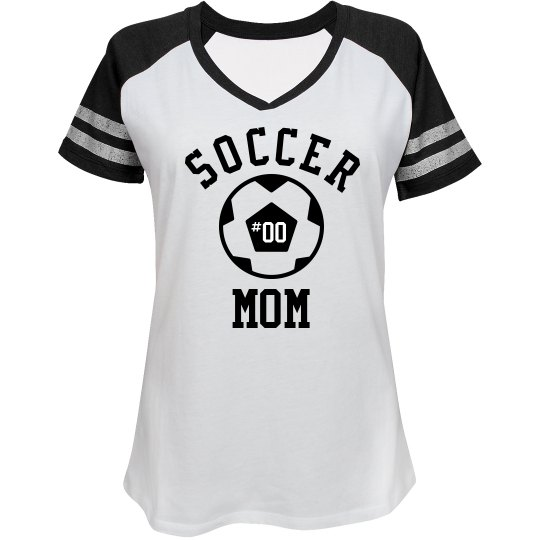 71a911190 Custom Soccer Mom Fan Ladies Relaxed Fit V-Neck Sports T-Shirt