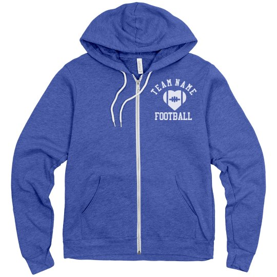 9453413e6 Personalized Football Team/Name/No. Unisex Fleece Full Zip Midweight Hoodie