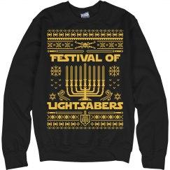 Hanukkah Ugly Lightsabers