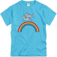 Unicorn Riding A Unicorn Over A Rainbow