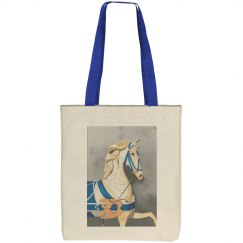 Horse in blue blue tote bag