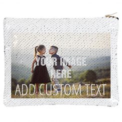 Custom Photo Upload Sequin Pouch