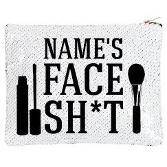 Custom Name Face Makeup Sequin Bag