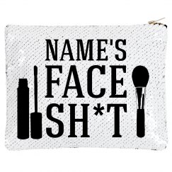 Custom Name Face Makeup Sequin Bag