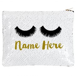 Custom Name Lashes Makeup Flip Bag
