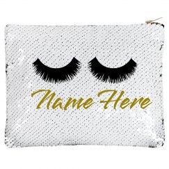 Custom Name Lashes Makeup Flip Bag
