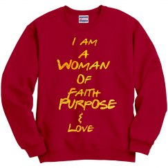 Woman Of Faith Red Sweatshirt with Glitter