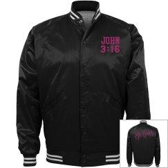 Black jacket w/cyber pink verbiage