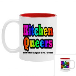 Kitchen Queers White & Blue Rainbow Logo Mug