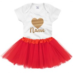 Cute Valentine Baby Outfit Metallic