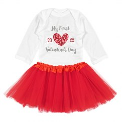 Baby's First Custom V-Day Tutu Onesie