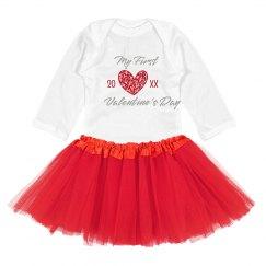 Baby's First Custom V-Day Tutu Onesie