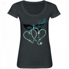 Turquoise & Black Masquerade Hearts