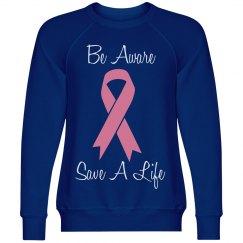 MISSES BREAST CANCER AWARENESS SWEATSHIRT-BLUE