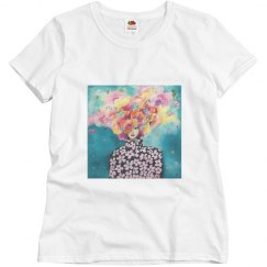 Girl with flowery hair and flower blouse t-shirt