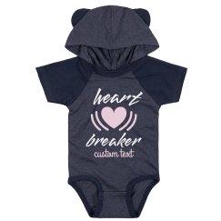 Heart Breaker Custom Cute Hood & Ears Baby Bodysuit
