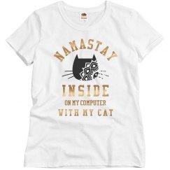 Metallic Namaste With My Cat