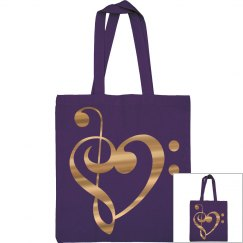 Gold Metallic Treble & Bass Clef Heart