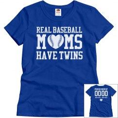 Real Baseball Moms Have Twins Custom Baseball Shirt