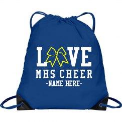 Custom Love Cheer Glitter Bow Clinch Bag
