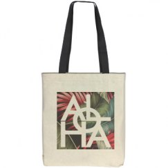 Aloha White Hawaii Vintage Palm Print Bag
