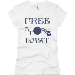 FREE AT LAST NAVY BLUE TEXT DIVORCE T-SHIRT