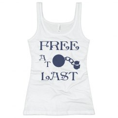 FREE AT LAST NAVY BLUE TEXT DIVORCE TANK TOP