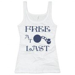 FREE AT LAST NAVY BLUE TEXT DIVORCE TANK TOP