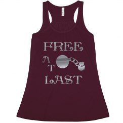 FREE AT LAST SILVER TEXT DIVORCE RACERBACK TANK TOP