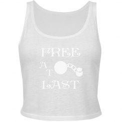 FREE AT LAST WHITE TEXT DIVORCE CROP TANK TOP