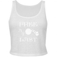 FREE AT LAST WHITE TEXT DIVORCE CROP TANK TOP