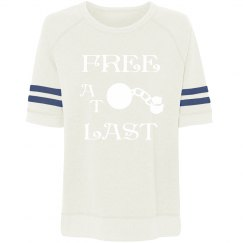 FREE AT LAST WHITE TEXT YARDLINER SWEATSHIRT