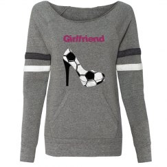 Soccer Girlfriend - Grey Long sleeve, wide neck fleece