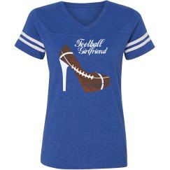 Football Girlfriend - Blue vintage stripe T-shirt