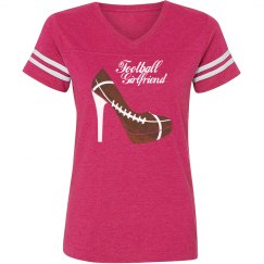 Football Girlfriend - Pink vintage stripe T-shirt