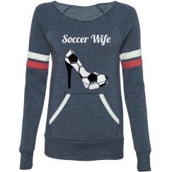 Soccer Wife - Long sleeve wide neck, eco fleece sweater