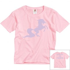 Unicorn in training youth tee