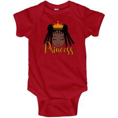 Black Girl Princess Red Fine Jersey Bodysuit