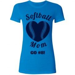 Neon Softball Mom Heart