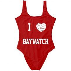 I heart Bay Watch one piece swimsuit