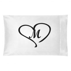 Heart with Initial Pillowcase