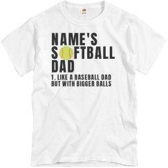 Custom Name Softball Dad With Balls