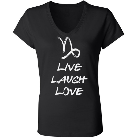 79f5aa05 Capricorn Loves Laughter Ladies Slim Fit V-Neck Jersey T-Shirt