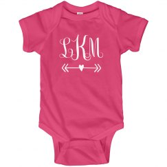 Custom Valentine's Day Monogram Baby Bodysuit
