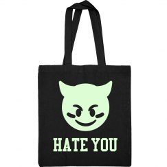 Hate You Glow In The Dark Devil Emoji Text Grunge Bag