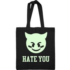 Hate You Glow In The Dark Devil Emoji Text Grunge Bag