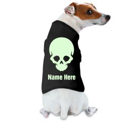 Custom Name Glow In The Dark Text Skull Dog Tee