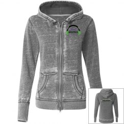 Juniors Gray Vintage Zip-Up Hoodie
