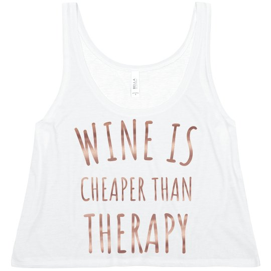 6fa1d8224e2 Rose Gold Metallic Wine for Therapy Ladies Flowy Metallic Boxy Cropped Tank  Top
