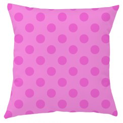 Pink Polka Dot Throw Pillow Cover